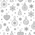 Seamless pattern with black snowflakes and toy balls on white background. Flat line pine tree decoration icons, cute Royalty Free Stock Photo