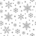 Seamless pattern with black snowflakes on white background. Flat line snowing icons, cute snow flakes repeat wallpaper Royalty Free Stock Photo