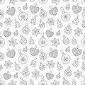Seamless pattern with black toy balls, heart, star on white background. Flat line pine tree decoration icons, cute Royalty Free Stock Photo