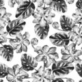 Seamless pattern with black and white watercolor flowers and leaves