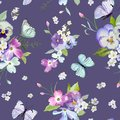 Seamless Pattern with Blooming Flowers and Flying Butterflies in Watercolor Style. Beauty in Nature. Background for Fabric