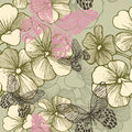 Seamless pattern with blooming geraniums and butte butterflies hand drawing vector illustration Royalty Free Stock Photo