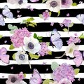 Seamless Pattern with Blooming Hydrangea Flowers and Flying Butterflies in Watercolor Style. Background for Fabric