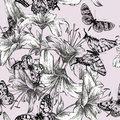 Seamless pattern with blooming lilies and black bu butterflies vector illustration Stock Photos