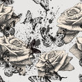 Seamless pattern with blooming roses and black but butterflies vector illustration Royalty Free Stock Photo