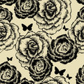 Seamless pattern with blooming roses and butterfli Stock Photo