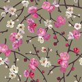 Seamless pattern with blooming sakura branches. Cherry blossoms floral background