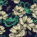 Seamless pattern with blooming wild roses and drag
