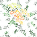 Seamless pattern of blossoming spring branch with orange yellow red flowers and green leaves isolated on white