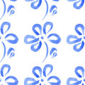 Seamless pattern blue abstract flowers