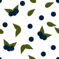 Seamless pattern: blue blueberries and leaves on a white background. Flat vector.