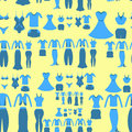 Seamless pattern with a blue clothing female on a yellow backgro