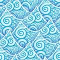 Seamless pattern blue cyan sea wave Royalty Free Stock Photo