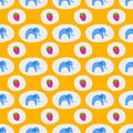 Seamless pattern of blue elephants background childrens cute african animal ornament print texture