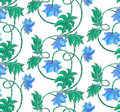 Seamless pattern with blue flowers Stock Photo