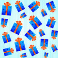 Seamless pattern with blue gift boxes Stock Photography