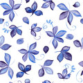 Seamless pattern with blue hand drawn watercolor leaf
