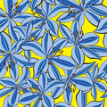 Seamless pattern blue lily on yellow background Royalty Free Stock Photo