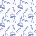 Seamless pattern with blue line art icon of ruler, compasses, pencil and angle ruler on notebook page background. Royalty Free Stock Photo