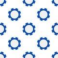 Blue Poker Chip Flat Icon Seamless Pattern