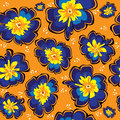 Seamless pattern of blue primrose on orange background Stock Image