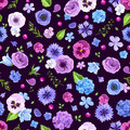 Seamless pattern with blue and purple flowers. Vector illustration. Royalty Free Stock Photo