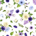 Seamless pattern with blue purple and white roses lisianthuses anemones and lilac flowers vector illustration green leaves on a Stock Photography