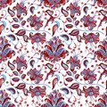 Seamless pattern with   blue and red flowers