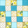 Seamless pattern from blue scrappy blanket from mu multi colored slices of fabric in scale Royalty Free Stock Photos