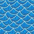 Seamless pattern blue sea wave Royalty Free Stock Photo