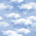 Seamless pattern blue sky with clouds Stock Photos