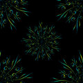 Seamless pattern with blue yellow circular floral ornament on black background