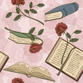 Seamless pattern of books and flowers on a floral background Royalty Free Stock Images