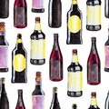 Seamless pattern with bottles of dark beer, watercolor illustration in hand-drawn style for St. Patrick`s Day.
