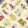 Seamless pattern with bottles and glasses vector illustration.