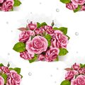 Seamless pattern of bouquet of pink roses a romantic on white background Royalty Free Stock Image