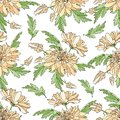 Seamless pattern with bouquets of chrysanthemums. Endless texture for design your greeting cards, fabric design, wedding