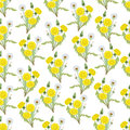 Seamless pattern with bouquets of dandelions