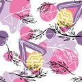Seamless pattern with branches and abstract figures.