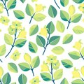 Seamless pattern with branches, leaves and lemon flowers. Spring background in a flat style.