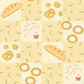 Seamless pattern with bread croissants bread rings cake and candy bakery Royalty Free Stock Photos