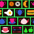 Seamless pattern of breakfast food and drink colorful minimalistic drinks Royalty Free Stock Image