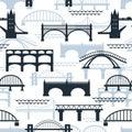 Seamless pattern of bridge silhouettes Royalty Free Stock Photo