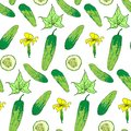 Seamless pattern of bright cucumber whole and chunks