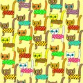 Seamless pattern. Bright cute kittens. Suitable as wallpaper in the children`s room, as a gift wrapping for children and adults.