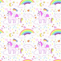 Seamless pattern with bright cute unicorns and rainbows.