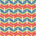 Seamless pattern. Bright geometric ornament with waves and rectangles. Royalty Free Stock Photo