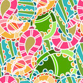 Seamless pattern with bright paisley endless Stock Photos