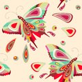 Seamless pattern with bright stylized butterflies Royalty Free Stock Photos