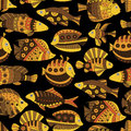Seamless pattern with bright tropical fish texture stylized exotic fishes on black background Royalty Free Stock Photos